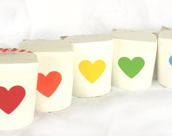 WHiTe Food BoXes-set of 10 --food safe-with vinyl rainbow heart labels-showers-weddings-gifts-packaging