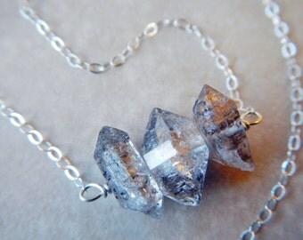 double terminated quartz cluster necklace -herkimer diamond necklace - silver herkimer quartz necklace  - raw gemstone jewelry