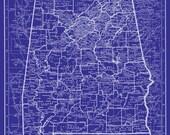 Alabama Map Poster Print Blueprint Map