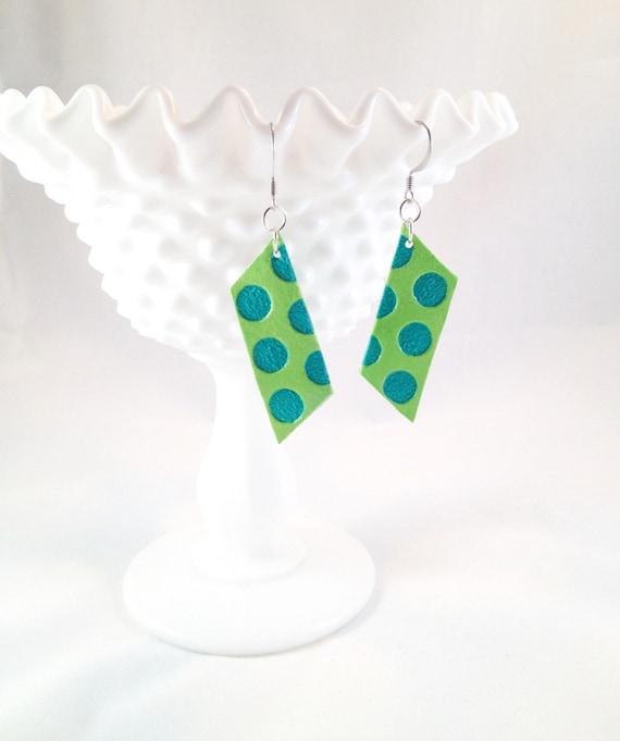 Hand Painted Geometric Neon Earrings / Upcycled Handmade Jewelry / Aqua Polka Dots
