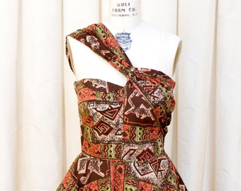 1950s Dress // Novelty Tiki Cat Print Full Skirt Dress with Asymmetrical Strap by Marjae of Miami