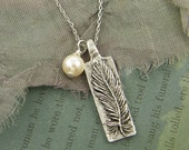 Silver Feather Necklace, To Thine Own Self be True Quote Necklace, Inspirational Message Jewelry |GS1-22