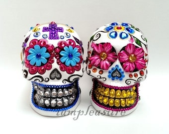 Skull Mexican day of dead weddings cake topper handmade bride and groom