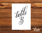 Calligraphy table numbers, wedding table number, calligraphy table number, script table number, 5x7 table number