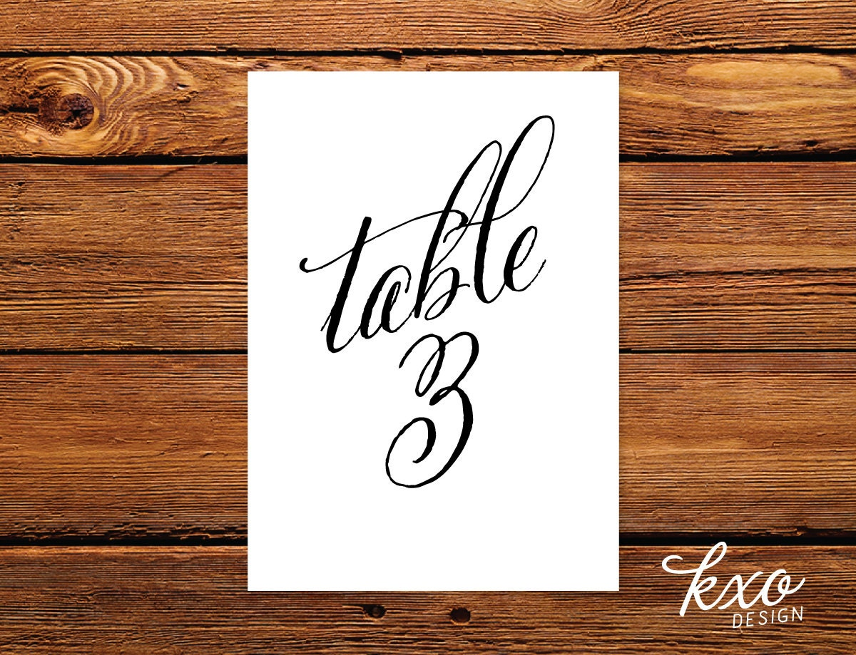 Calligraphy table numbers wedding table number by kxodesign for Table numbers