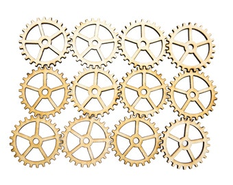 Plywood SteamPunk Gears, Craft Gears, Cheap Wood Gears, Laser Cut - 12qty - 1.25 Inch (31.8mm) - BASIC,Wood Crafts,DIY Crafts,Craft Supplies