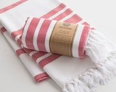 Red Extra Thick Turkish Bath Towel Peshtemal 100% Cotton