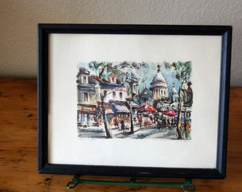 Vintage Marius Girard Paris Lithograph, Vintage Marius Girard Paris Street Scene Print Vintage Signed Art Print from The Eclectic Interior