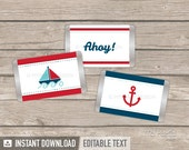 Nautical Party - Mini Chocolate Wrappers - Red and Blue - INSTANT DOWNLOAD - Printable PDF with Editable Text