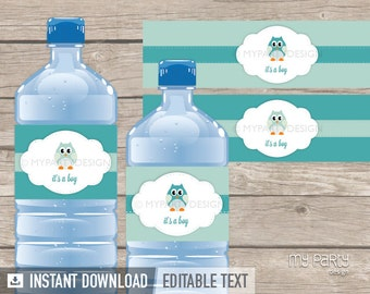 Owl Bottle Labels - Owl Boy Baby Shower Party - INSTANT DOWNLOAD - Printable PDF with Editable Text