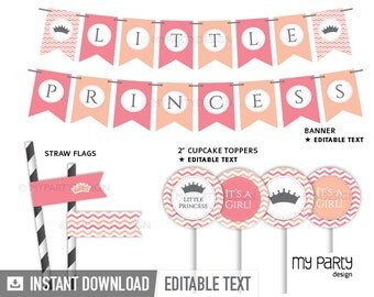 Little Princess Baby Shower Party - Party Pack - Pink Peach - INSTANT DOWNLOAD - Printable PDF with Editable Text