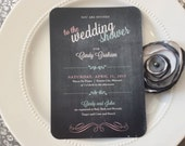 Printable Wedding or Baby Shower Invitation with Chalkboard BG