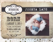 Printable Baby Announcement  - Boy Classic Vintage