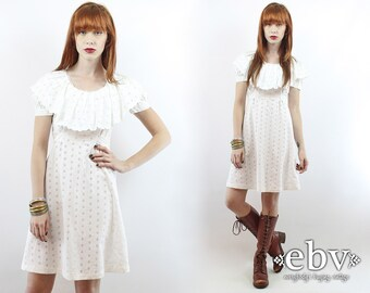Vintage 70s White Puff Sleeve Eyelet Lace Mini Dress XS White Dress Summer Dress Babydoll Dress Eyelet Lace Dress Dolly Dress