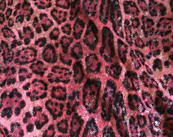 Pink Sequined Leopard Spandex Fabric