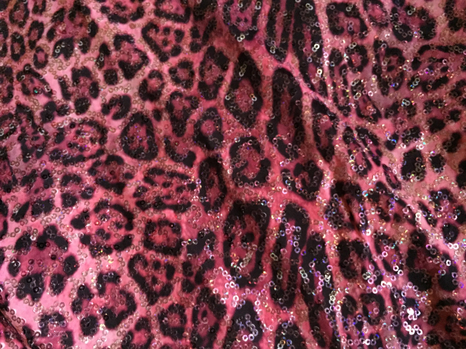 Pink sequined leopard spandex fabric for Spandex fabric