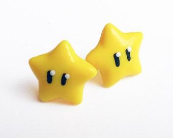 Super Mario Invincibility Star stud earrings