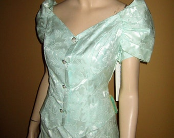 UNWORN wOrig Tags 70s BROCADE SATIN Vest Dress Off Shoulder M-L in Aquamarine Pearl Dome Buttons by Jordan