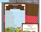 Woodland Forest Animal Wishes for Baby Printable Baby Shower Activity - Instant Download - Woodland Baby Shower - Forest Baby Shower