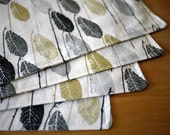Cloth Placemats - Ivory Leaf Print - Set of 4 - Mother's Day Gift, Housewarming Gift, Wedding Gift, Hostess Gift