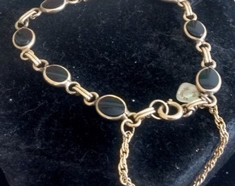 Gold Filled Black Onyx Bracelet with Safety Chain