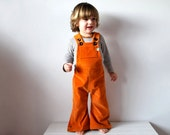 Dungarees kids flared orange cordoruy overalls warm toddlers cute hippie clothing clementine fruit sunshine rainbow spring summer clothes