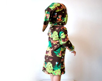 Fox jersey dress brown cotton childrens jumper tree forest foxes outfit cub animal hooded hoodie girls baby toddler pixie elf cute soft fun