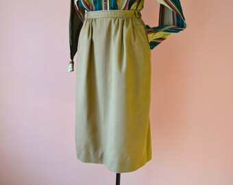 1980's Straight Skirt High Waisted Beige Khaki Twill Equestrian Style Summer Dress Skirt Event Modern Size Small Medium - VDS143
