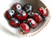 Picasso beads, Czech glass beads - Dark Red, rustic - donut, rondelle, gemstone cut, fire polished, red beads - 6x8mm - 12Pc - 1997
