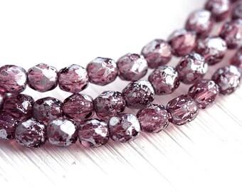 4mm Purple glass beads, Silver wash, czech glass fire polished round beads - 50Pc - 0327