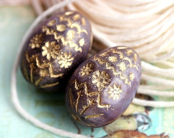 Easter eggs, czech glass beads, Purple violet glass beads, Bird eggs, Easter decoration, Gold ornament, oval beads, 20mm - 2Pc - 1914