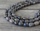 Blue Layered Necklace: Raw Sapphire Beads with Sterling Silver, Multi-Strand Necklace, Chunky Jewelry, Natural Gemstones