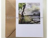 Fine Art Greeting Card, Bird, Contemporary Landscape, Figurative, Cabin, Kylie Fogarty, Blank Greeting Card