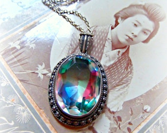 Vintage Sterling Silver Watermelon AB Rainbow Glass Necklace