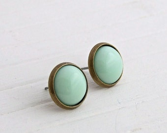 Mint Green Earrings .. mint green stud, small earrings, light green studs, green earrings, green post earrings