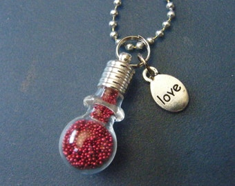 Glass Pendant! Love, or, Friend Charm, Glass Bulb, Red Seed Bead, Pendant! Birthday Gift, LGBT Gift, BFF Gift, Valentine Gift, OOAK!