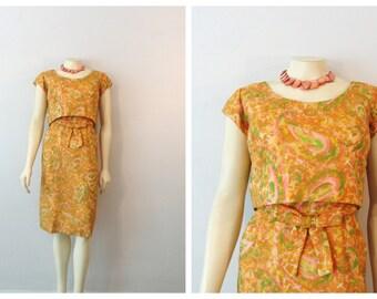 Vintage Dress 60s Mad Men Cocktail Hostess Dress Yellow Orange Floral Spring Summer Print Metal Zipper Size 18 Modern Medium
