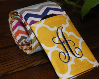 Camera Strap Cover, 10% off using coupon code, Monogrammed  Reversible SLR or DSLR-2 pockets, padding,Multi-Chevron/Mustard Quatrafoil