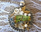 Connecticut State Silver Pendant Necklace