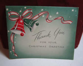 Vintage 1950's unused Norcross christmas thank you card  colorful green and red christmas bells stars