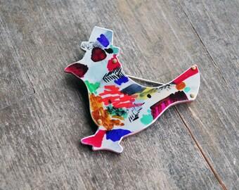 Anodized Fancy Bird Pin Hand Drawn Accessory