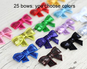 Sequin Bows - Wholesale Sequin Bows - Set of 25 - You Pick Your Colors - 2 Inch Sequin Bows For Headbands and Clips