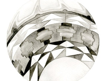 Orb geometric Art Print: 7x7 black and white watercolor painting