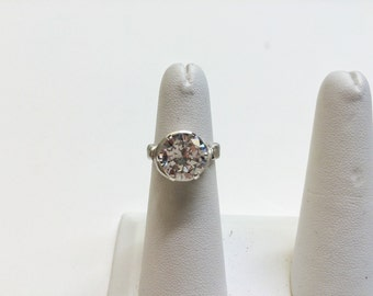 Wire Wrapped Cubic Zirconia Solitaire Ring - FREE SHIPPING