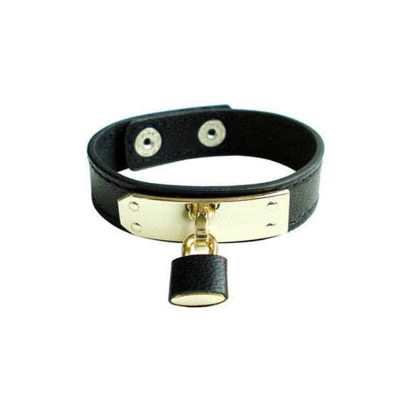 Genuine Leather Lock Bracelet - Black