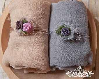 4 Item Neutrals Newborn Baby 1 yard  long Newborn Swaddles w matching Rustic Inspirations Head ties gauze set 4 item Swaddle set 100% cotton