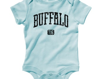 Baby Buffalo 716 Romper - Infant One Piece - NB 6m 12m 18m 24m - Area Code 716 Buffalo Baby - New York - 4 Colors
