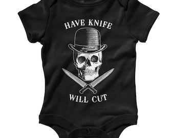 Baby Have Knife Will Cut Romper - Infant One Piece - NB 6m 12m 18m 24m - Chef Baby - 4 Colors