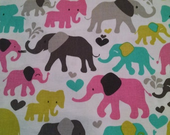 Baby toddler Fitted sheet Elephants animals pink chartreuse teal brown
