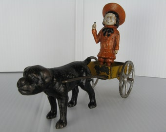 Early Original Hubley cast iron Buster Brown and Tige in steel cart with cast iron wheels